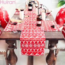 HUIRAN Merry Christmas Happy New Year Red Letter Table Runner Santa claus Elk Placemat Decorations for Home 2019 Natal