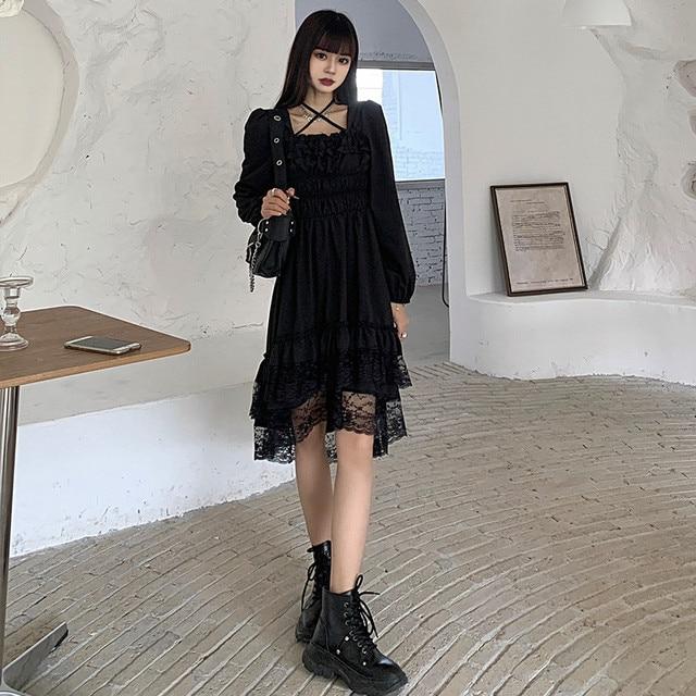 New Gothic Women Black Fairy Party Dress Cross Square Collar Lolita Princess Irregular Dress Cute Kawaii Lace Ruffles Chic Dress 6