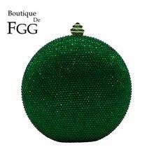 Boutique De FGG Bolso De mano con bola redonda De cristal verde para mujer, pochette De noche para boda, fiesta, diamante, elegante