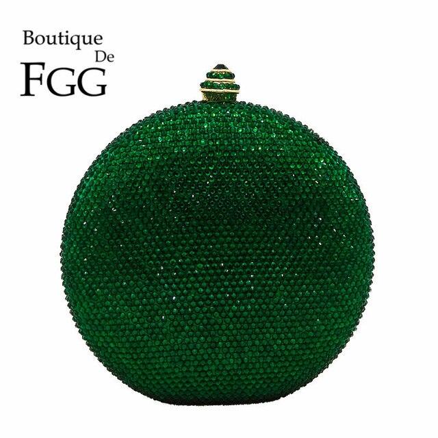 Boutique De FGG Elegantผู้หญิงคริสตัลสีเขียวรอบบอลกระเป๋าถือคลัทช์สำหรับงานแต่งงานเพชรBagกระเป๋าถือ