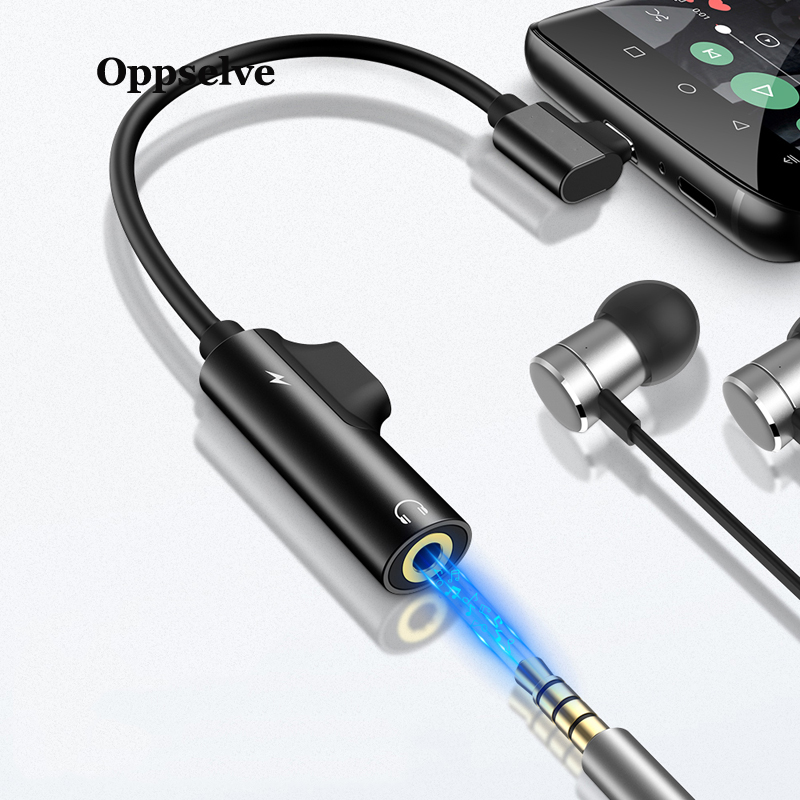 Oppselve Usb C to 3 5mm Aux Jack Audio Cable For Xiaomi 9 Huawei P30 P20 Oneplus Audio splitter Adapter Type C Charging Adapter in Mobile Phone Cables from Cellphones Telecommunications