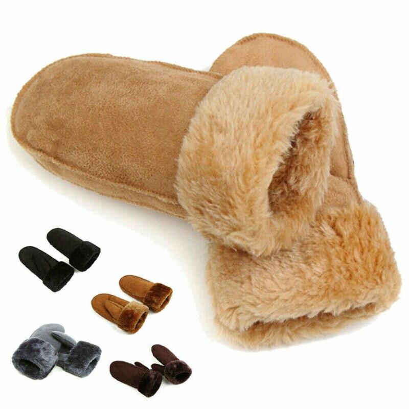 Hirigin Winter Women Ladies Full Figure Mittens Fur Leather Warm Gloves Fashion Cute Solid Thick Plush Ski Accessories Wear