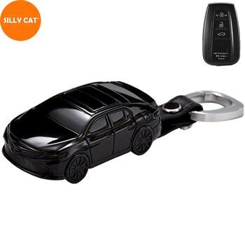 Car Model Car Key Case Cover Fob Keychain Suit For TOYOTA CAMRY V7 VA7 VH7 CHR X1 COROLLA E21 RAV 4 V 5 PRADO AVALON AXXA50 1pcs carbon fiber silicone car key cover fob case cover for toyota camry corolla avalon rav4 land cruiser keychain