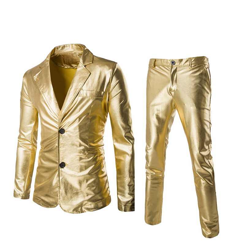 SHUJIN Men Coated Gold  Suit Set 2 pcs Jackets + Pants Men Blazers Sets Dress Blazer Set Wedding Party  Show Shiny Clothes