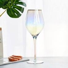 Бокал с радужным покрытием, бокал для вина, Хрустальный Бокал для коктейлей, бокал для шампанского, флейта, бокал для бренди, бокал для питья, вечерние бокалы, 5 шт