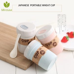 300ml Wheat Straw Soup Cup Plastic Buckle Leakproof Lunch Box Japanese Mini Microwave Bento Lunch Box soup cup Foodbox