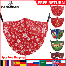 Kid Masks Washable Face-Cover Christmas-Print-Masks Red-Color Women Fashion Cute Snowman