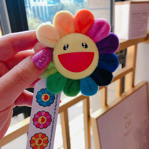 Kids Brooch Sunflower Pendant Adorable Rianbow Brooch Takashi Murakami Flower Cushion 60cm 2ft Pillow Authentic Good Boy Gifts