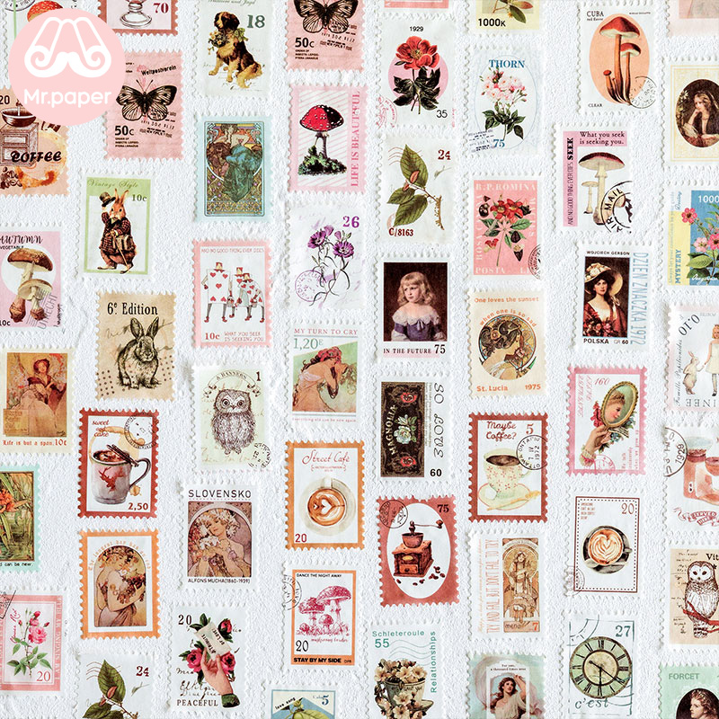 Mr Paper 8 Designs Retro Post Office Plant Bullet Journaling Stamp Tapes Scrapbooking Deco Sticker Masking Tapes Easy to Tear 2