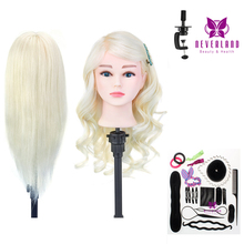 20'' 100% Real Human Hair Hairdressing Training Head for Barber White Hair Curling Practice Dummy Doll Mannequin Head+ Gift