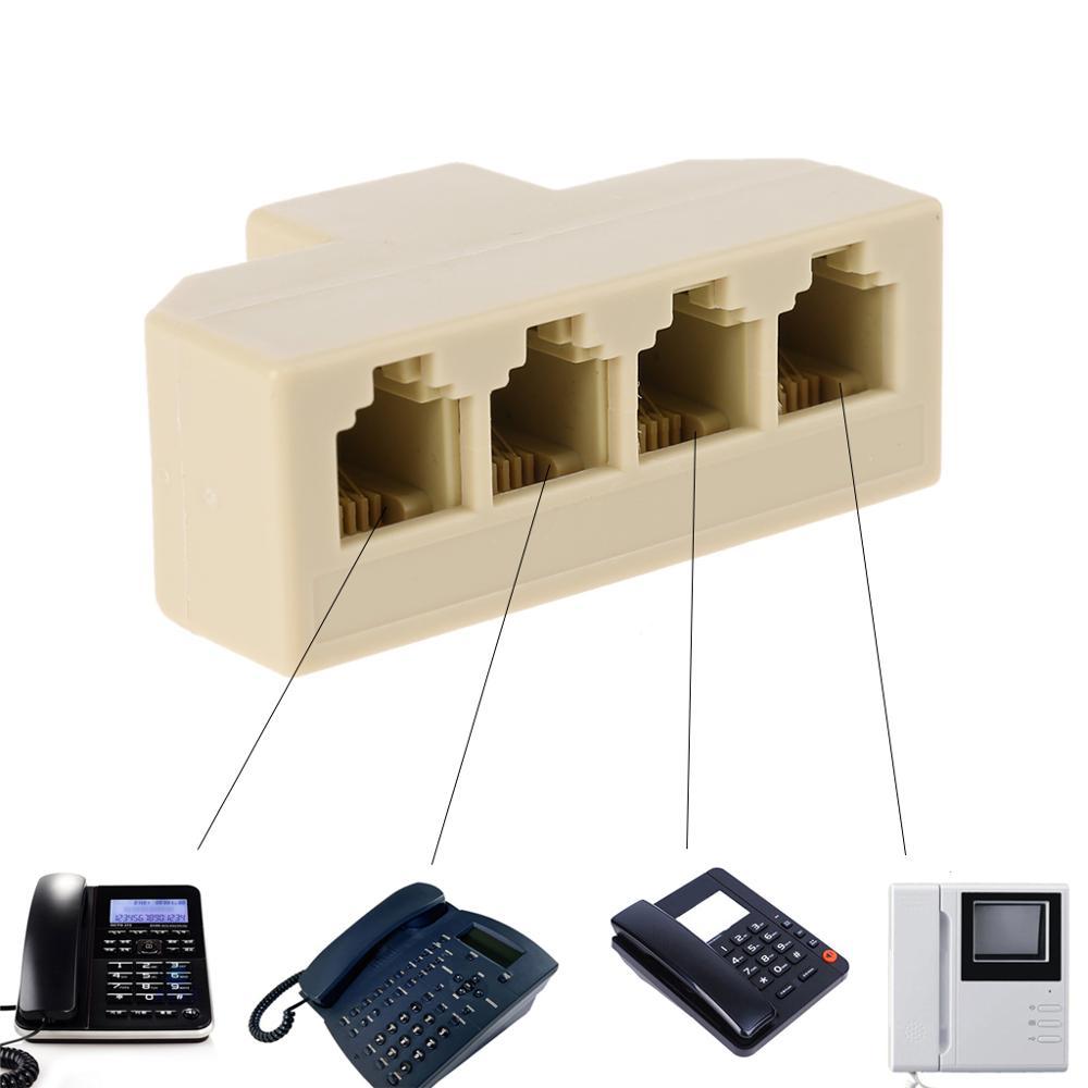 1PC Networking Tools RJ11 Splitter 4 Way Adapter 1 M To 4 F RJ-11 6P4C Phone Jack Splitter