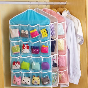 16 Pockets Socks Bra Underwear Hanging Organizer Tidy Rack Hanger Storage Door Bag For Bathroom Living Room Household Sundries