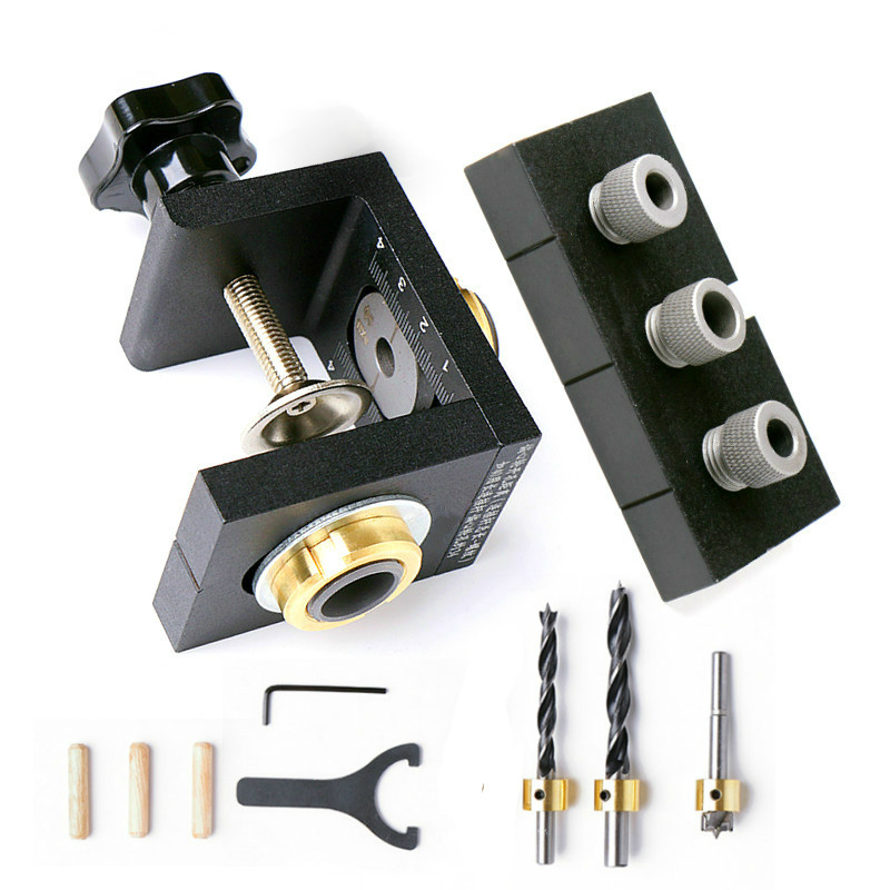 Woodworking Drilling Guide Dowel Hole Drilling Guide Jig Drill Locator Kit Carpentry Positioner Tools W/ Step Drilling Bits