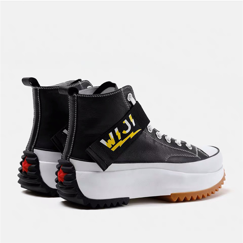 Nouveau haut haut plate forme baskets noir unisexe en cuir véritable semelle épaisse chaussures homme hauteur augmenter chaussures grosses chaussures de marche hommes - 3