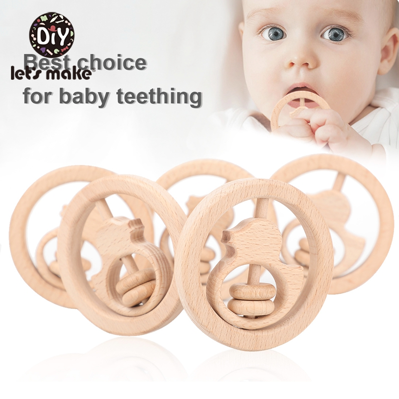 Let'S Make 1pc Wooden Toys For New Born Baby Beech Duck Wood Ring Baby Teether Crib Mobile Toddler Toys Baby Rattle For Kids