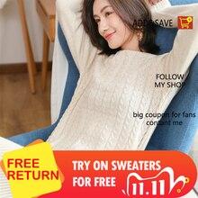 Adohon 2019女性の冬100% カシミヤセーターと秋ニットドレスプルオーバー高品質暖かい膝丈oネック