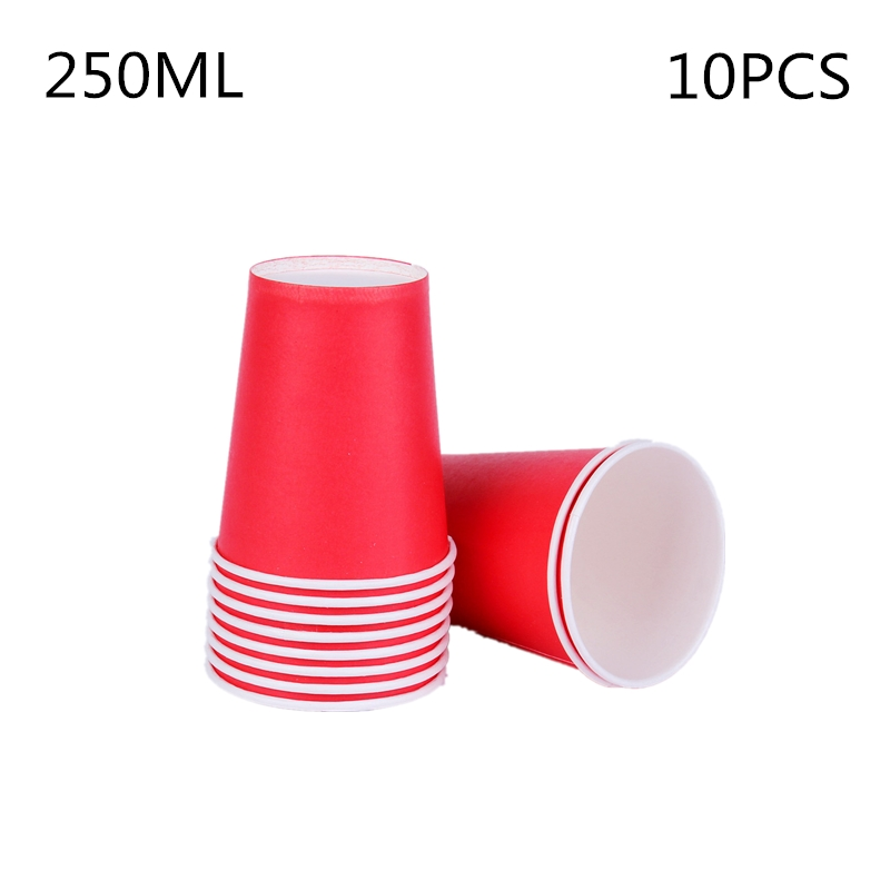 10pcs/set DIY Paper Red Cups Wedding Party Picnic Tableware Disposable Cups Decoration Baby Shower Kids Birthday Picnic Colorful