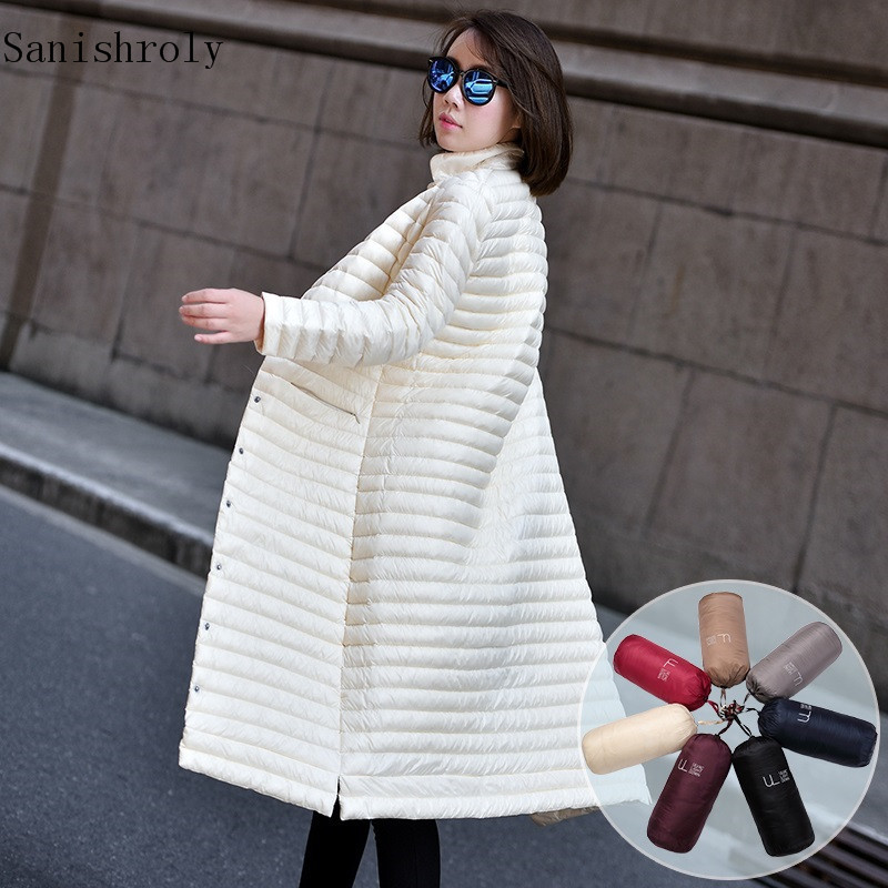 Sanishroly Autumn Winter Women Long Coats Ultra Light Down Coat Parka Female Stand Collar White Duck Down Jacket Plus Size SE722