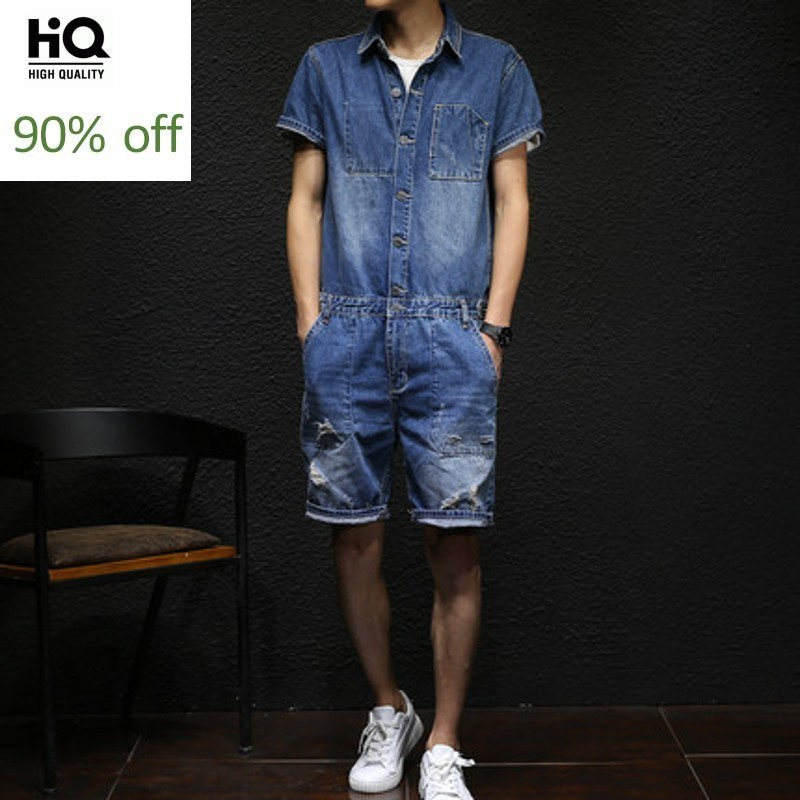 Mens Overalls 2020 Summer Fashion Streetwaer Vintage Knee Length Calca Masculina Short Sleeve Botton Print Casual Clothes Men