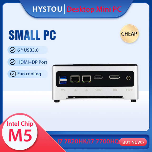 Mini PC Windows 10 Pro, Core i7-7820hk/i5-7440hq, Client max 64 go RAM, double SSD NVME M.2, wi-fi, HDMI, DP, petit ordinateur ordinateur de bureau