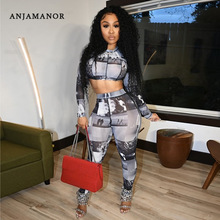 ANJAMANOR Women's Two Piece Set Long Sleeve Crop Top and Pants Mesh Printed Sexy Club Outfits Sporty Matching Sets D16-BH30