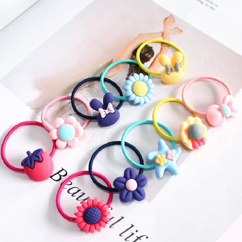 10 PCS Lovely Flower Princess Headwear Baby Headdress Girls Hair Accessories Kids Elastic Hair Bands Children Hair Ropes 6