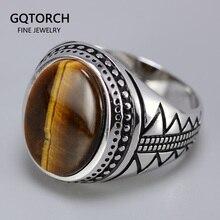 Oryginalna solidna męska pierścionek srebrny s925 Retro Vintage turcja pierścionki z naturalnych kamieni tygrysie oko turecka biżuteria ze srebra próby 925 biżuteria