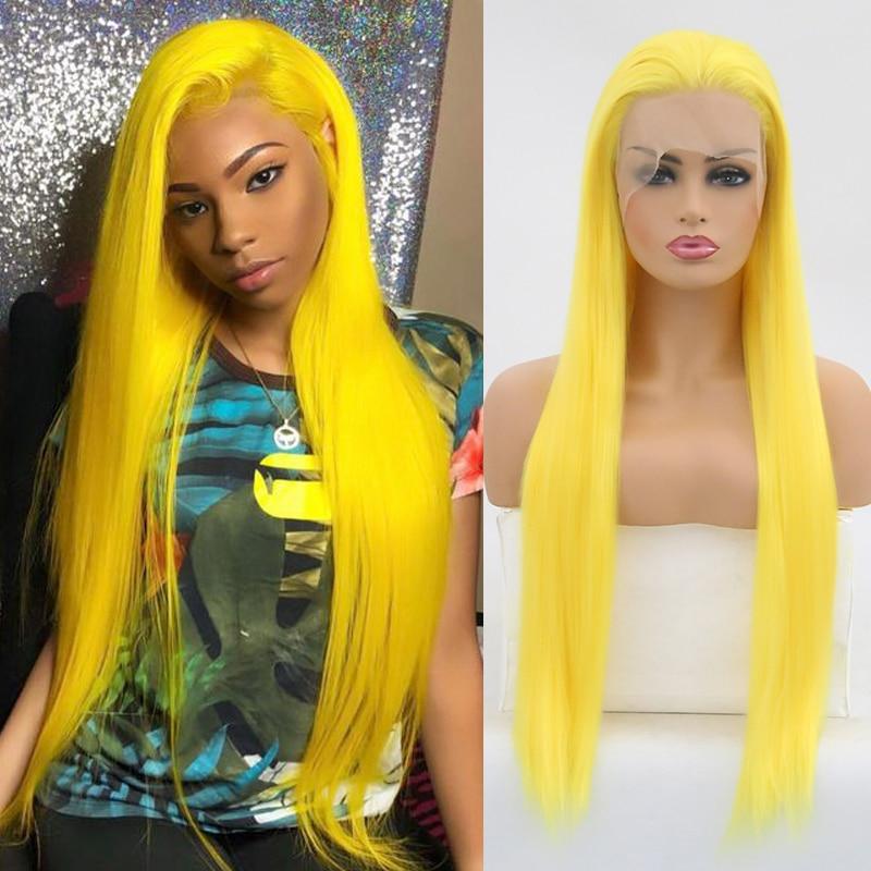 Carisma peruca amarela longa reta cabelo resistente ao calor fibra sintética do laço peruca dianteira para as mulheres natural hairline cosplay perucas