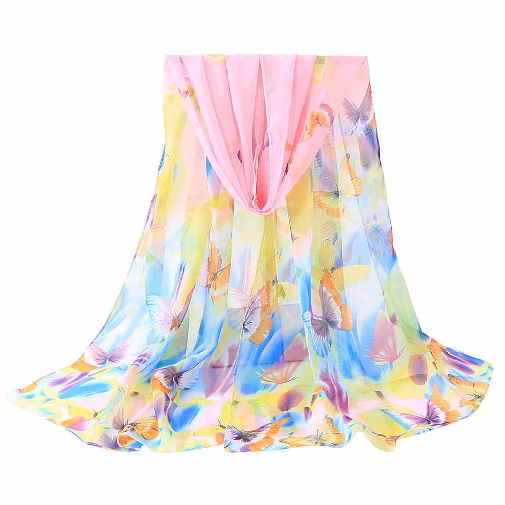 2019 di Moda di lusso Raso di Seta Stampa Sciarpa Per Le Signore Delle Donne di Modo di Stampa di Farfalle Lunga Molle Dell'involucro Dello Scialle Della Sciarpa Sciarpe