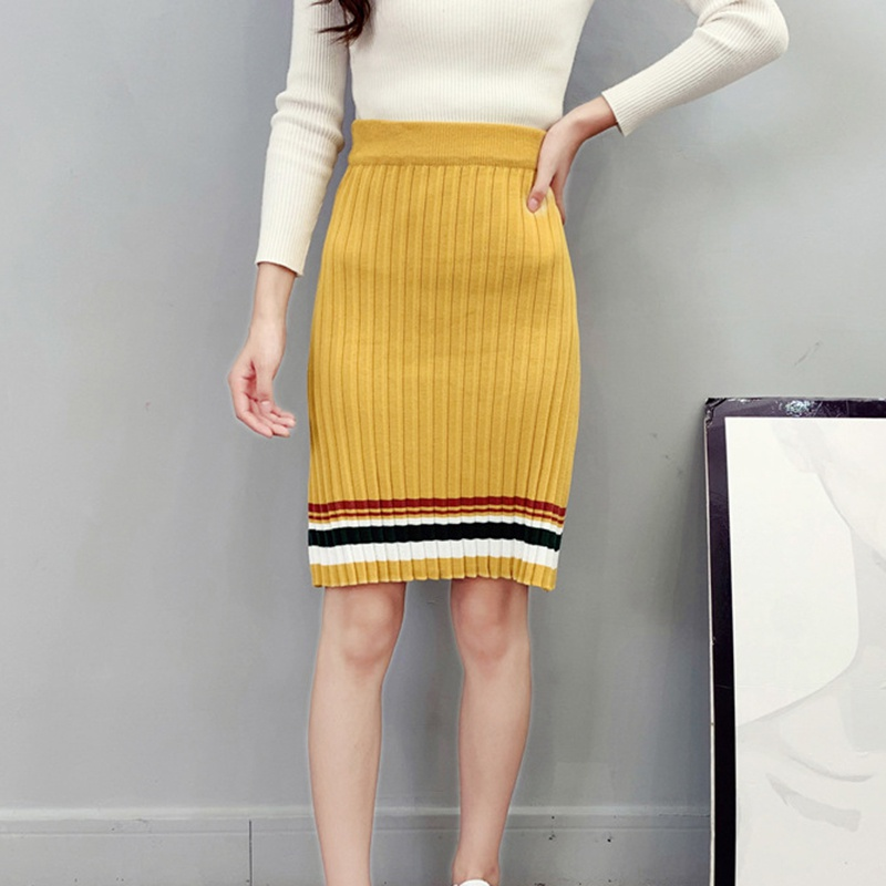 Winter HighStreet Color Block Bodycon Knit Skirt High Waist Side Knee Length Pencil Skirts Women Patchwork Knitwear korean style