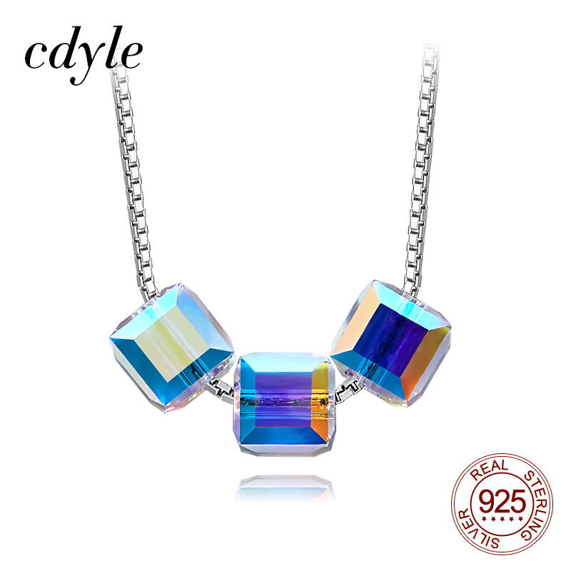 Cdyle Minimalist Elegant Jewelry Crystal AB Color Triple Cube 4mm Charm Necklace 925 Sterling Silver Bridal Necklace for Women