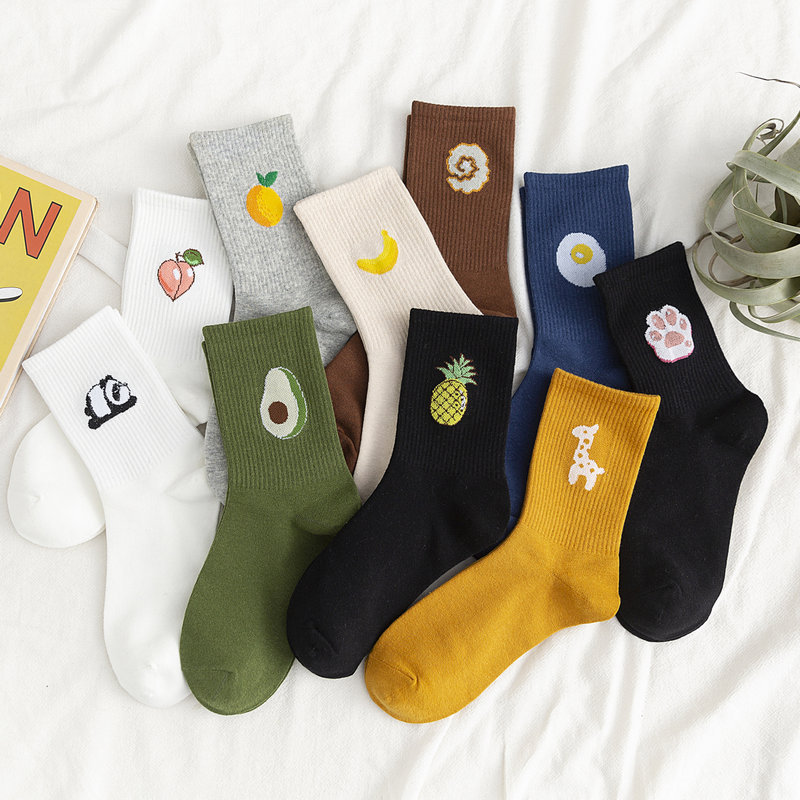 2020 New Unisex Funny Fruit Women Socks Harajuku Colorful Mid Socks E-girl 100 Cotton 1 Pair Kawaii Streetwear Size 35-42