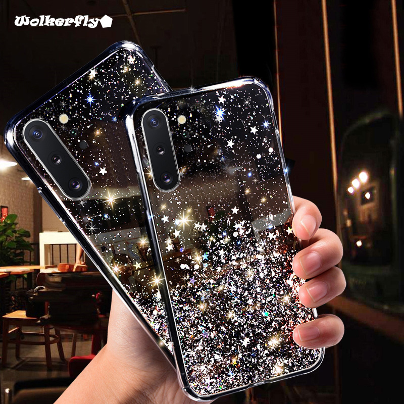 Glitter Bling Transparent Case For Samsung Galaxy A10S A20S A80 A70 A50 A30 S10E S10 5G S9 S8 Plus A7 A9 <font><b>A2018</b></font> Note10 Soft Cover image