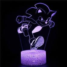 Movie Sonic the Hedgehog 3d Light Mutil-colors Children Night Lamp for Kids Crack Base 3D Acrylic Desk Lamp for Home Decor Gifts 3d лампа 3d lamp утенок