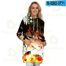 Женская толстовка с капюшоном платье Повседневный пуловер длинным
