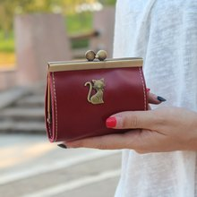 Women Purses Leather Mini Vintage Wallet Portable Key Coin Bag Cat Pattern Female Wallet Girls Small Soft Coin Pouch Clutch(China)