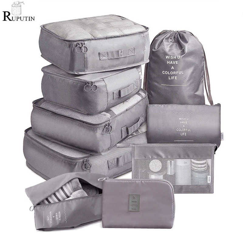 9 pieces Set Travel Organizer Storage Bags Suitcase Packing Set Storage Cases Portable Luggage Organizer Clothes Shoe Tidy Pouch