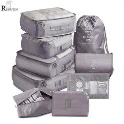 Набор из 9 предметов, дорожный органайзер, сумки для хранения, чемодан, упаковочный набор, чехлы для хранения, портативный органайзер для обу...