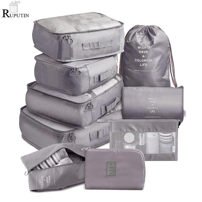 Набор из 9 предметов, дорожный органайзер, сумки для хранения, набор для упаковки чемоданов, чехлы для хранения, портативный органайзер для б...