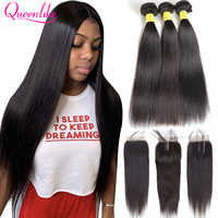 Queenlike 100% Human Hair Weave Bundles With Closure Remy Hair Weft 3 4 Bundles Brazilian Straight Hair Bundles With Closure