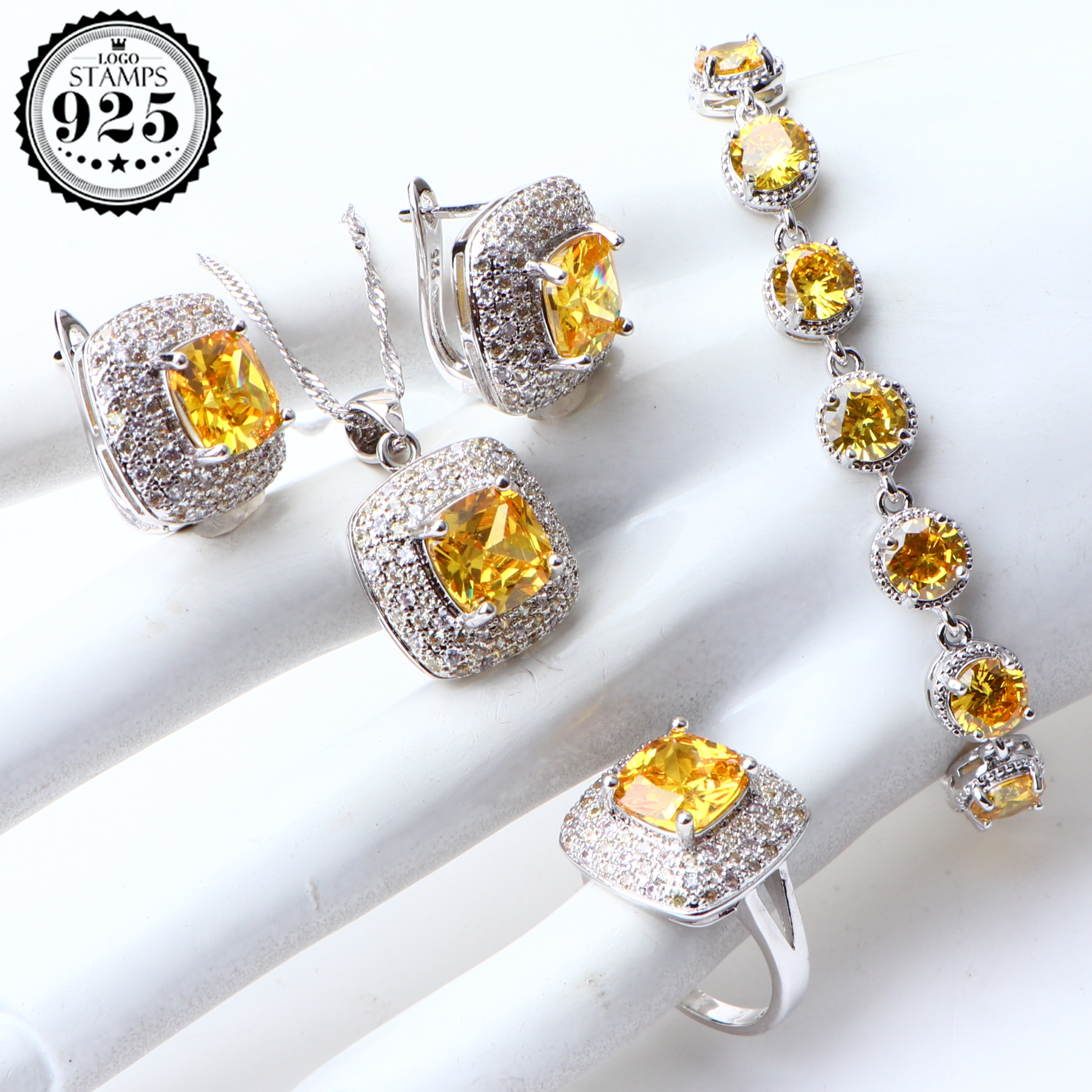 Jewelry-Sets Costume Silver Yellow Cubic-Zirconia Necklace Pendant-Set Gifts-Box Wedding-Ring