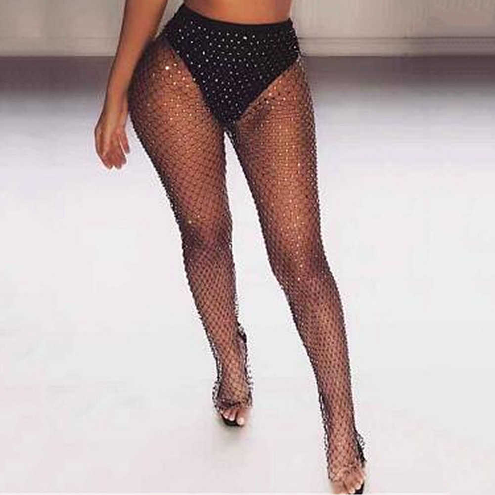 Dehnbar Mesh Hosen Frauen Sexy Sommer Aushöhlen Transparent Lose Lange Fishnet Hosen Club Party Hosen