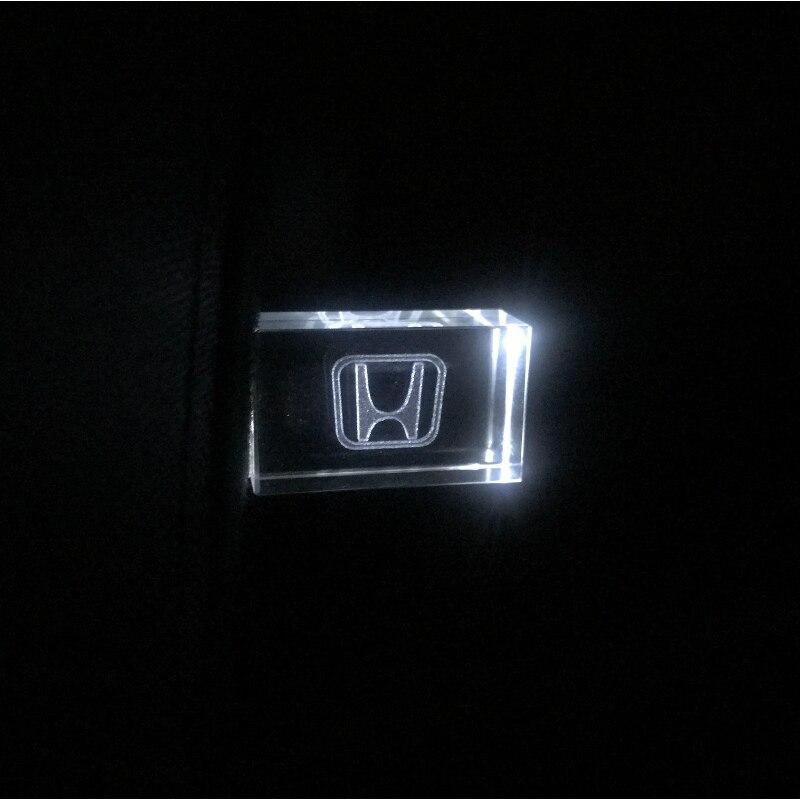 Crystal + Metal USB Flash Drive Honda Car Logo Pendrive 4GB 8GB 16GB 32GB 64GB USB 2.0 External Storage Memory Stick U Disk