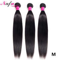 NAFUN Brazilian Hair Wave Bundles 30 Inch Bundles Straight Human Hair Bundles Non-Remy Hair Extensions Middle Ratio Hair Waving