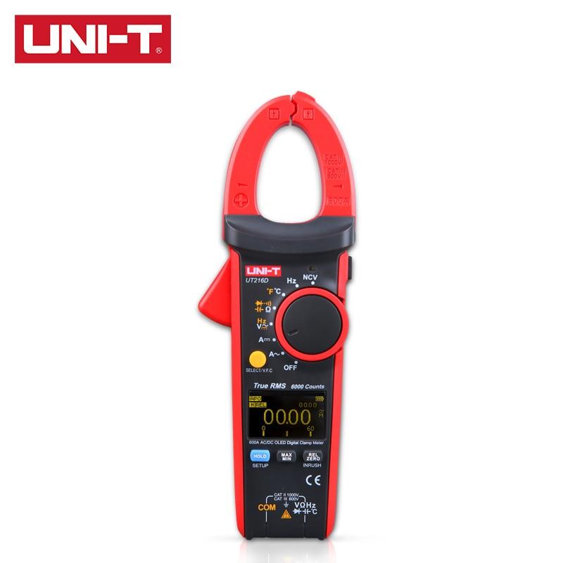 UNI-T UT216 Series True RMS Digital Clamp Meter UT216A UT216B UT216C UT216D 600A MAX MIN Relative Modes NCV Flashlight  VFC