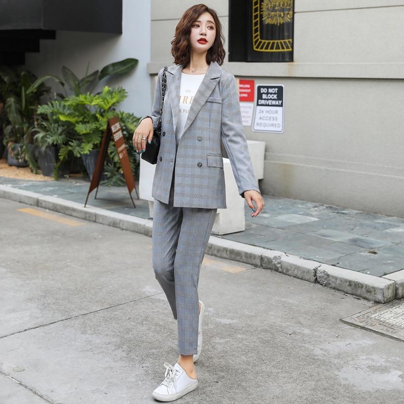 Autumn new casual ladies suit set Temperament Plaid Blazer High Quality Slim pants suit women's Office suit two-piece 2019