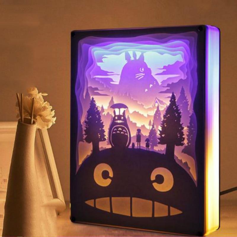 Новинка, ночной Светильник Totoro, атмосферная лампа из бумаги, 3D художественная резьба по бумаге, декоративная лампа с питанием от USB для гости...