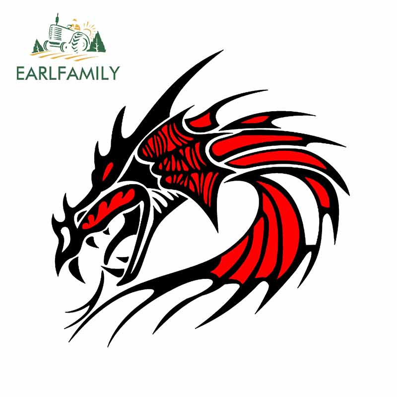 EARLFAMILY 13cm x 10.9cm Cartoon Dragon Motorcycle Car Stickers Personality Graphics Bumper Rear Windshield Decal