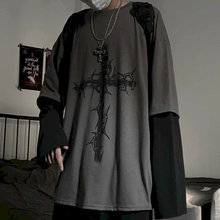 T-shirt croce di spine falso due pezzi per uomo donna manica lunga hip-hop scuro sciolto grandi dimensioni autunno nuova tendenza top semplicità