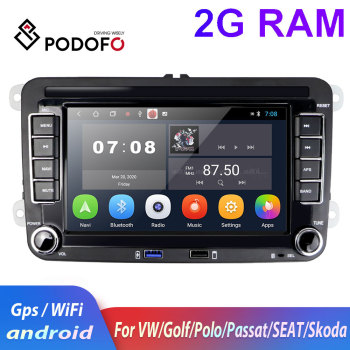 Podofo 2din car radio for Volkswagen Car Multimedia player autoradio android 2din For VW/Volkswagen/Golf/Polo/Passat/Skoda/Fabia image